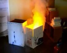 Simulation feu de carton